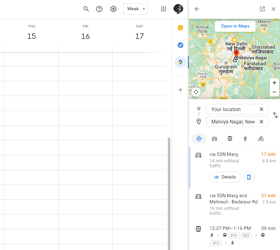 Travel directions in Google Maps on the side panel