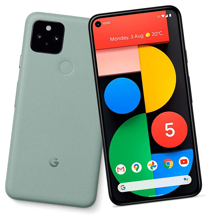 A product render of the Google Pixel 5 in green