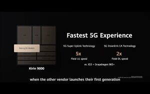 HiSilicon Kirin 9000 SoC 5x faster upload and 2x faster download compared to Snapdragon 865 Plus