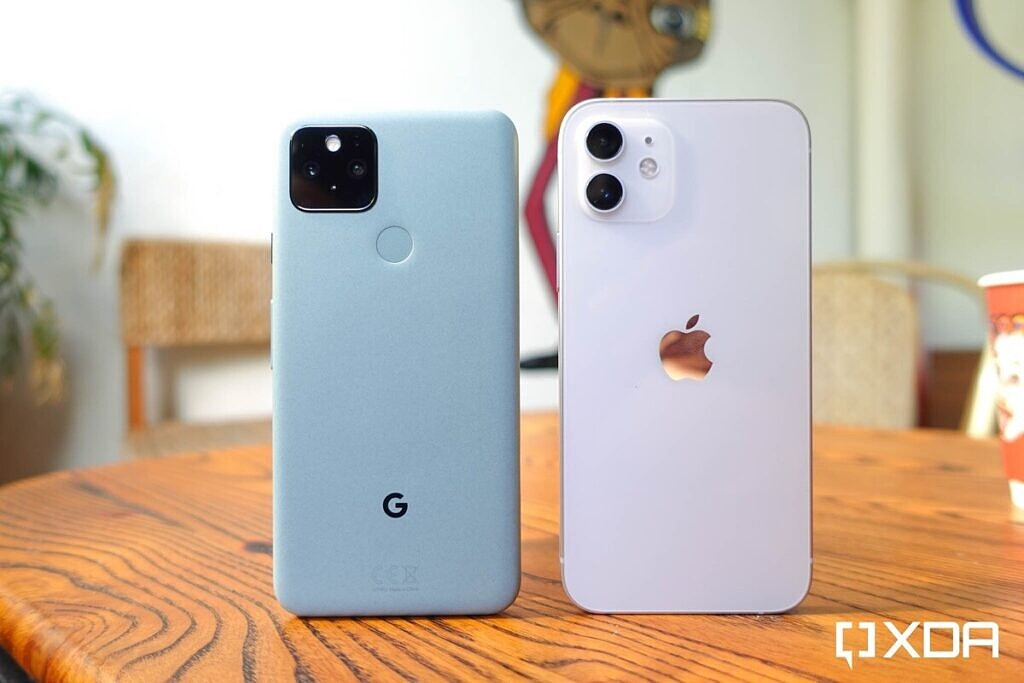 iPhone 12 in white and Google Pixel 5 in green.