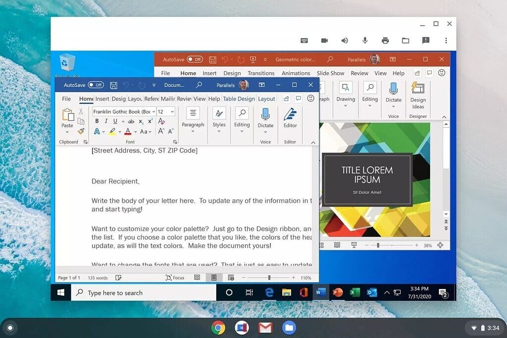 Windows running on Chrome OS with Parallels