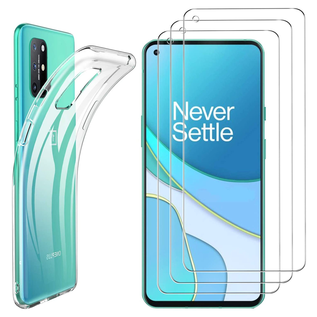 OnePlus 8T Luibor Tempered Glass Screen Protector + Clear TPU Case