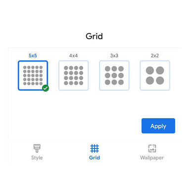 Download: Pixel Launcher from the Google Pixel 5 adds grid size options