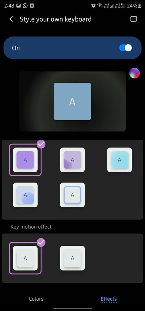 Add motion effects to keys in Samsung Keyboard app