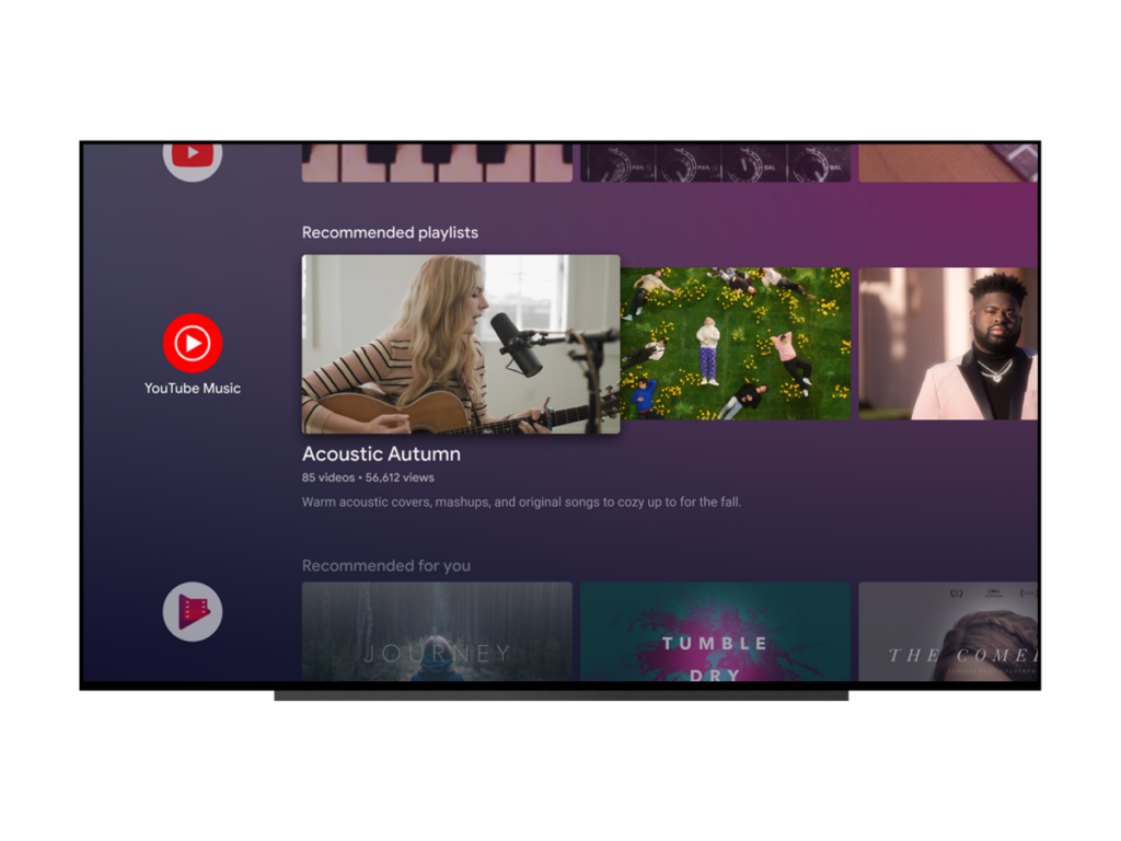 YouTube Music for Android TV recommended playlists