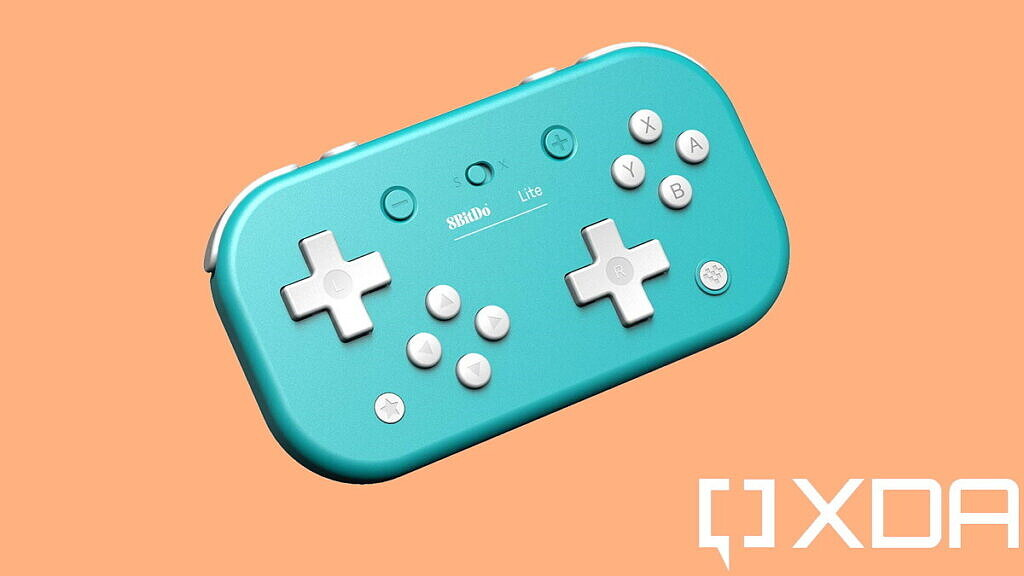 best nintendo switch controllers 8bitdo lite turquoise on orange background