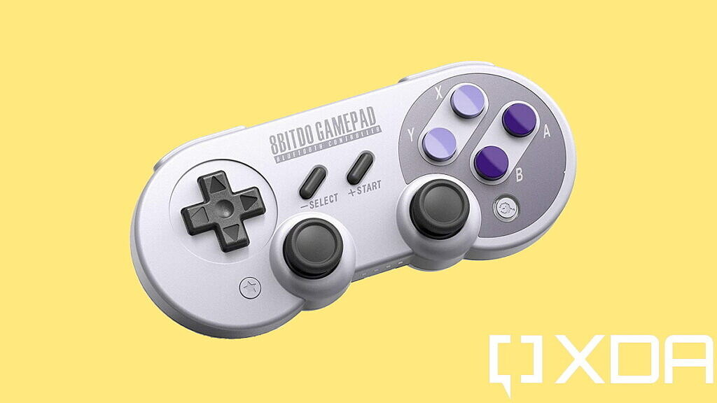 best nintendo switch controllers 8bitdo sn30 on yellow background
