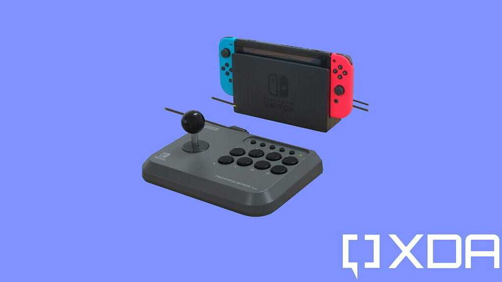 best nintendo switch controllers hori fighting stick mini on dark blue background
