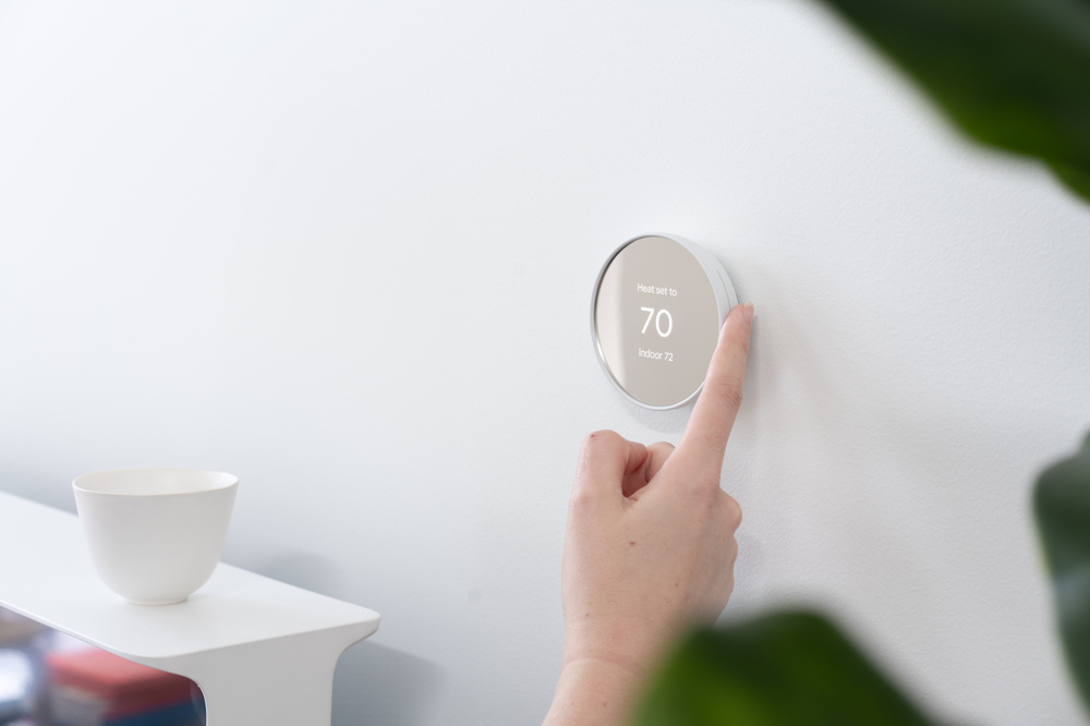 Google Nest Thermostat on the wall