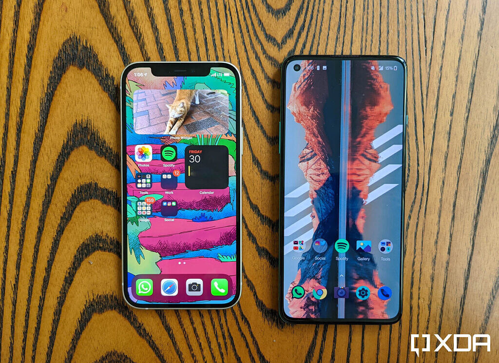 iPhone 12 and OnePlus 8T's display