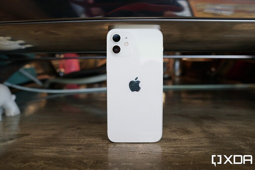 iPhone 12 in white.