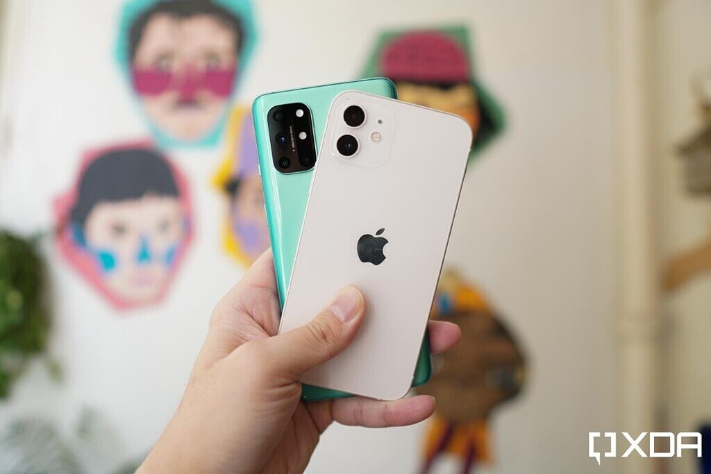 white Apple iPhone 12 and green OnePlus 8T