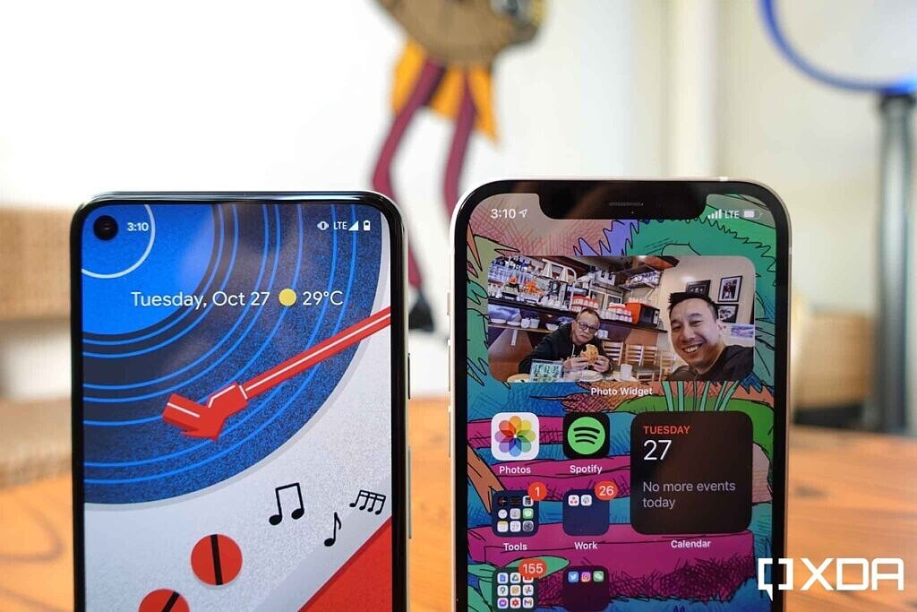 iPhone 12 with a notch and Google Pixel 5 with a hole-punch camera.