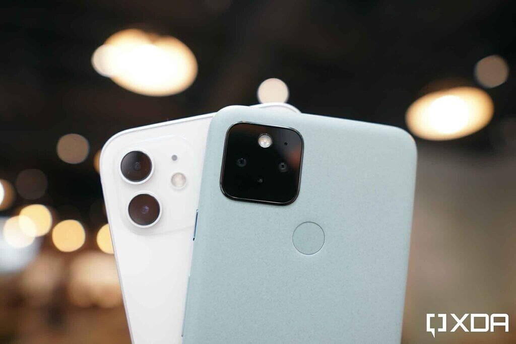 Google Pixel 5 Blue and Apple iPhone 12 White camera modules