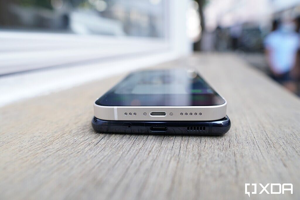 iPhone 12 and Galaxy S20 FE stacked on top of each other.