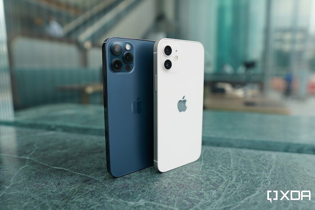 Blue iPhone 12 Pro and white iPhone 12