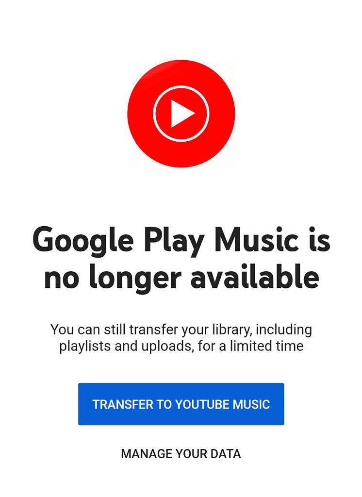 Google Play Music Closedown Message