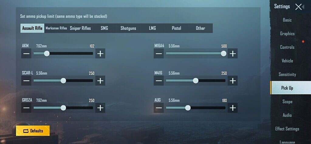 pubg mobile auto pickup settings