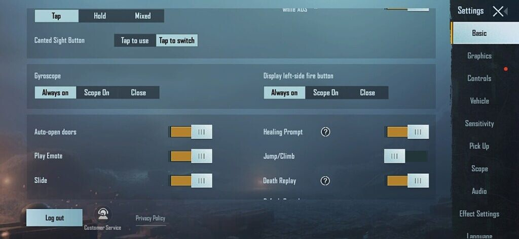 pubg mobile gyroscope settings