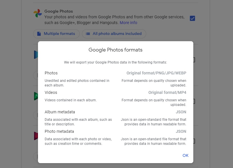 Google Photos export in Google Takeout