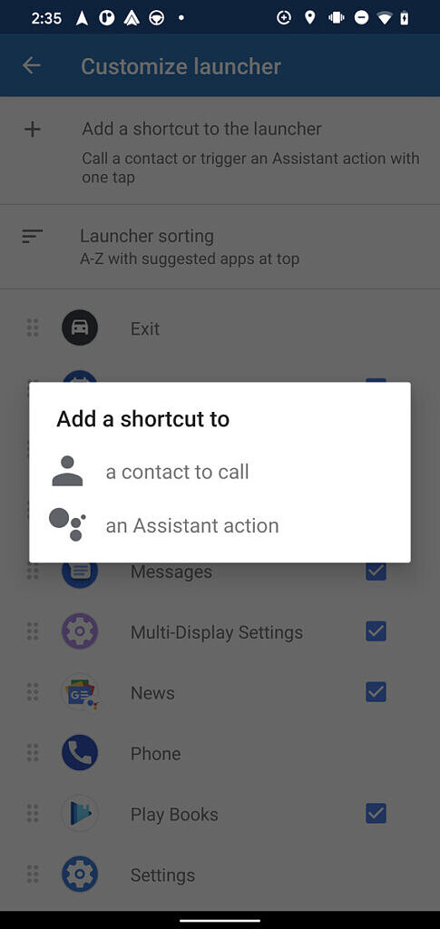 Android Auto Google Assistant shortcuts