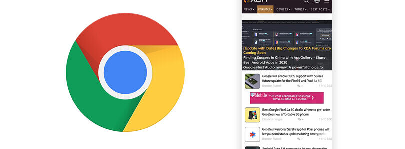 Google Chrome tests showing a voice search button in the top toolbar