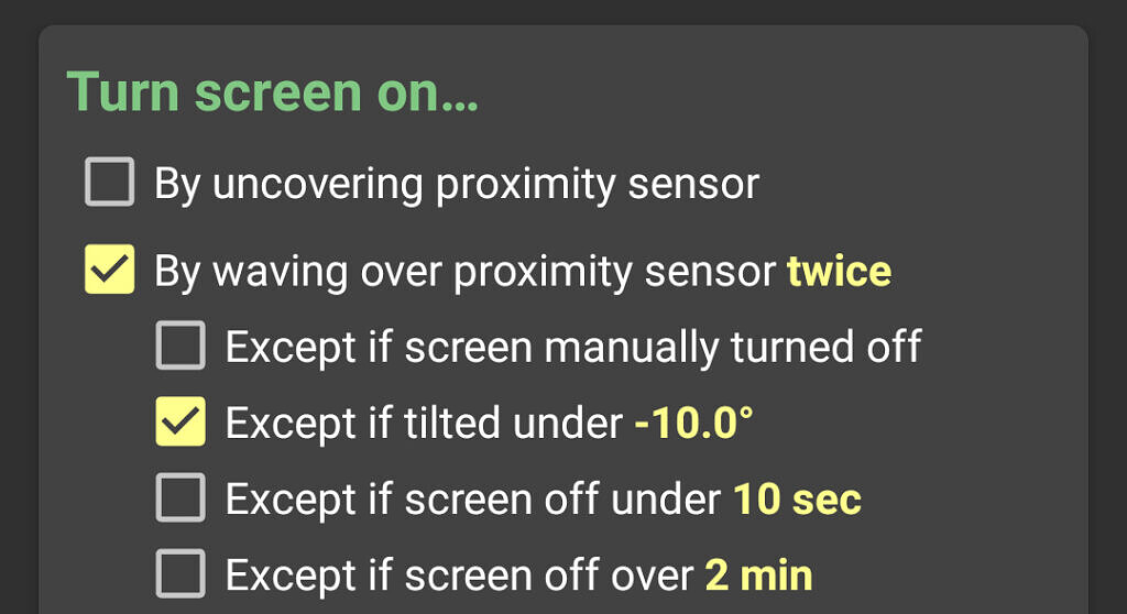 KinScreen screenshot showing new exception for turn on by proximity setting