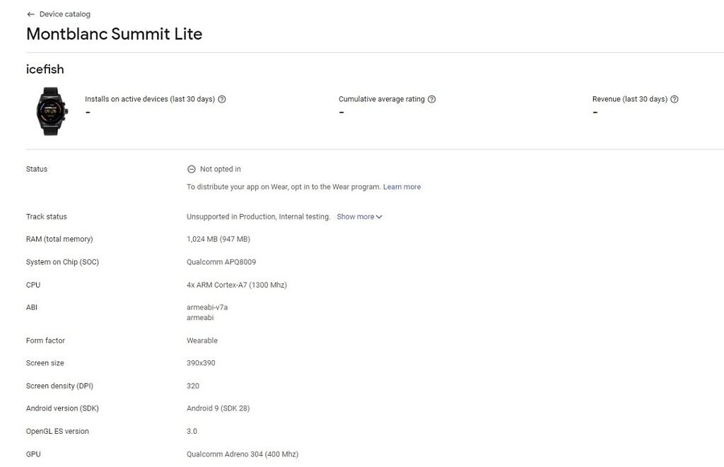 Montblanc Summit Lite Google Play Console entry