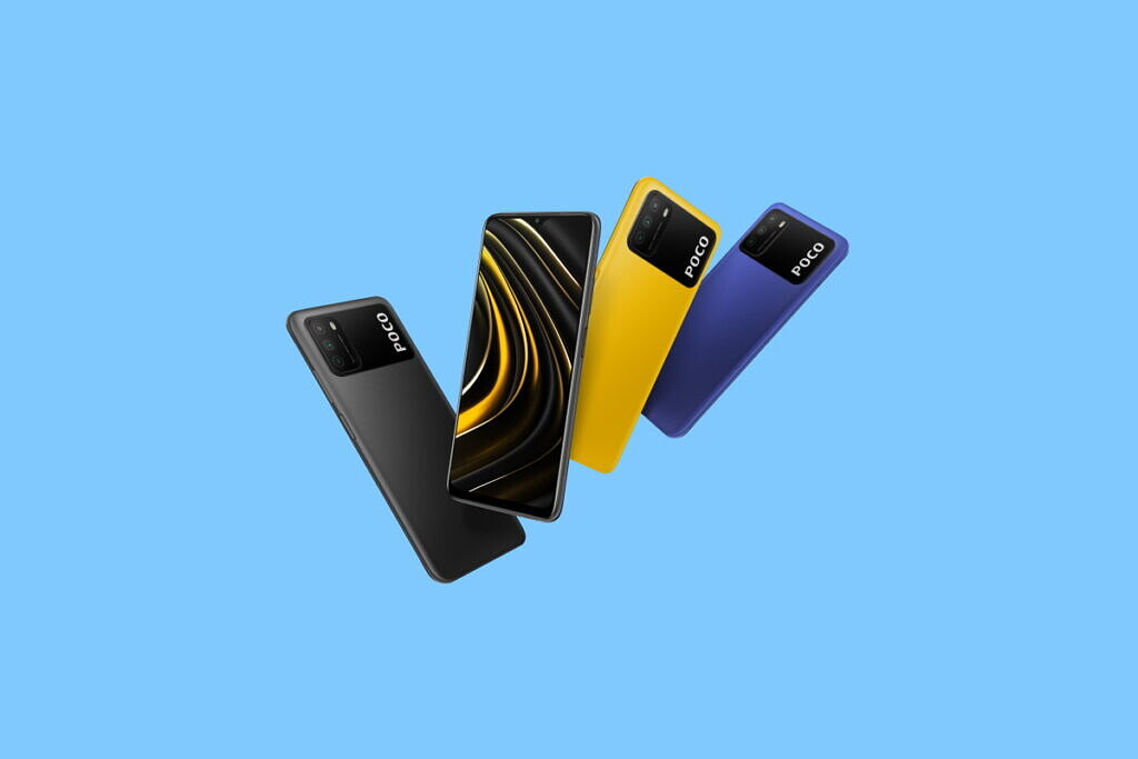 The POCO M3 in multiple colors.