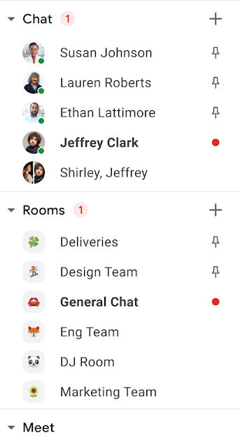 Google Chat pinned conversations