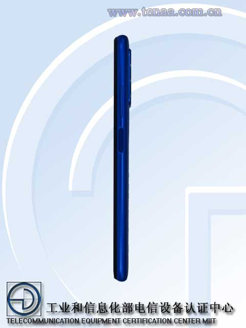 Blue Redmi Note 10 4G side view