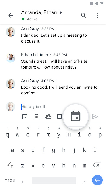 Google Chat schedule events