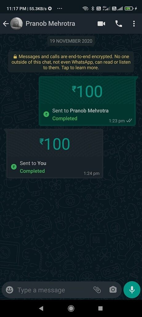 Payment successfully made to a WhatsApp contact