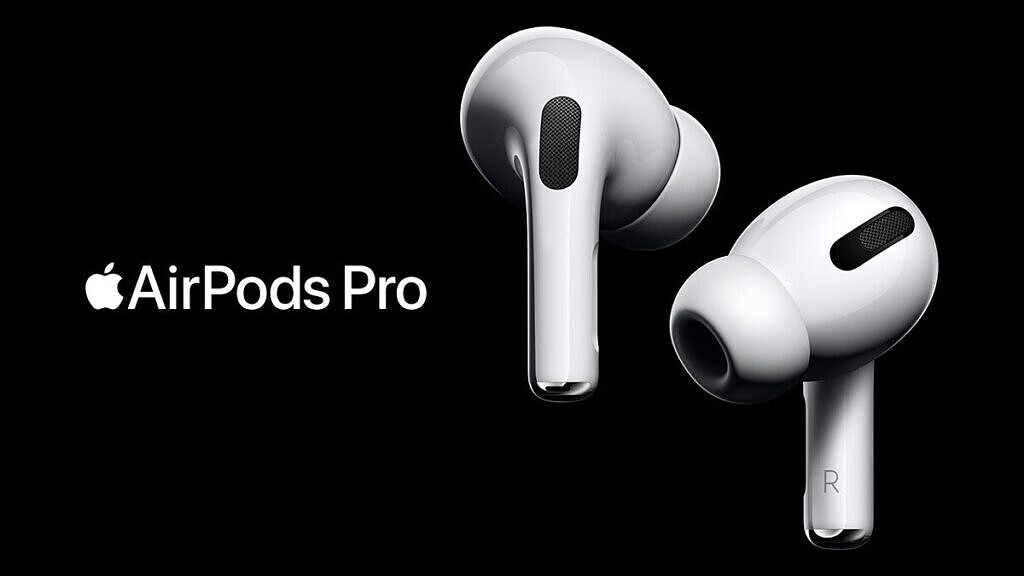 apple airpods pro without case on black background with logo