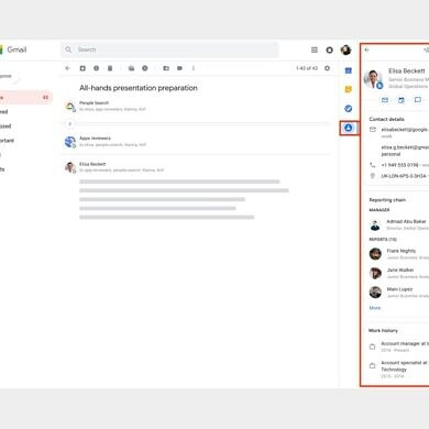 Google Contacts comes to the Gmail side panel for Workspace accounts