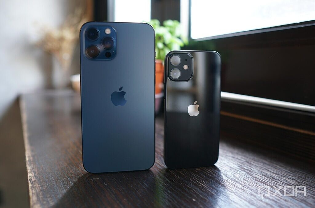 The iPhone 12 Pro Max in blue and iPhone 12 Mini in black