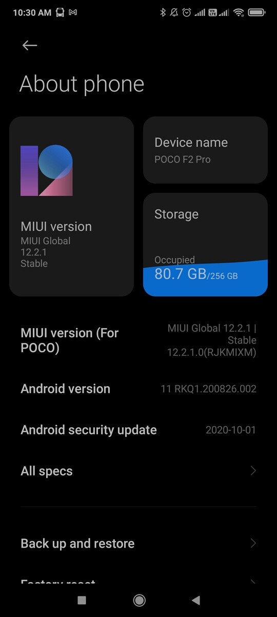 POCO F2 Pro MIUI 12 Global Stable