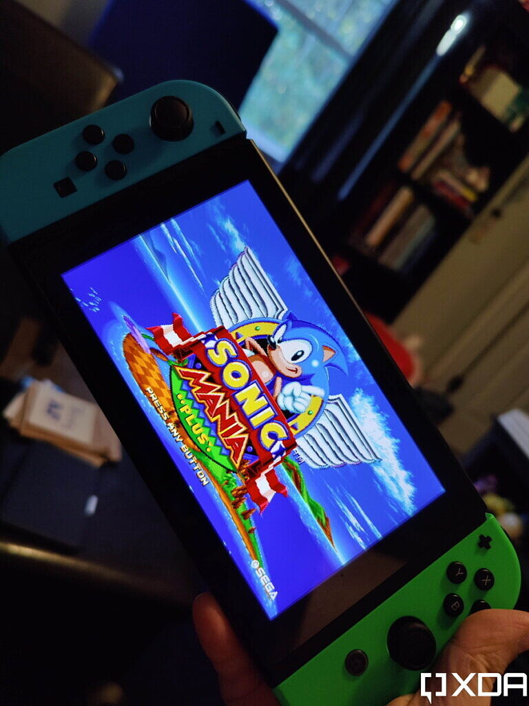 Nintendo Switch with Sonic Mania title screen