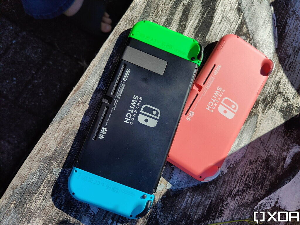 nintendo Switch and Switch Lite, backside, outside