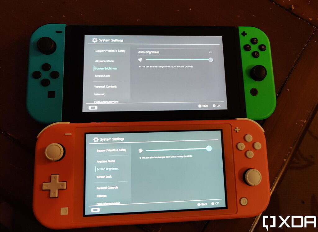 switch and switch lite on max brightness, next to each other
