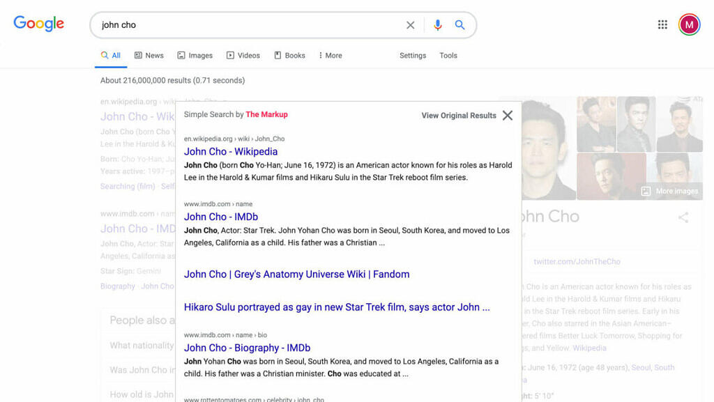 Simple Search browser extension for Google Search