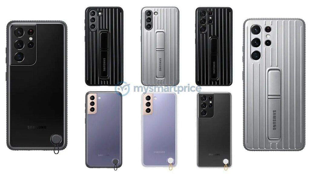 Samsung Galaxy S21 series protective and clear protective case leaked renders