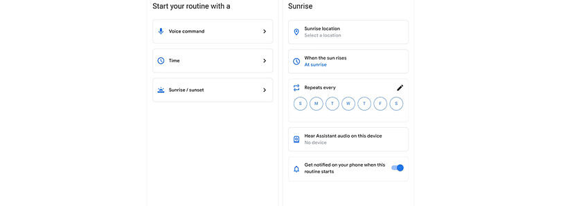 Google Home app is rolling out a sunset/sunrise Assistant routine trigger for some