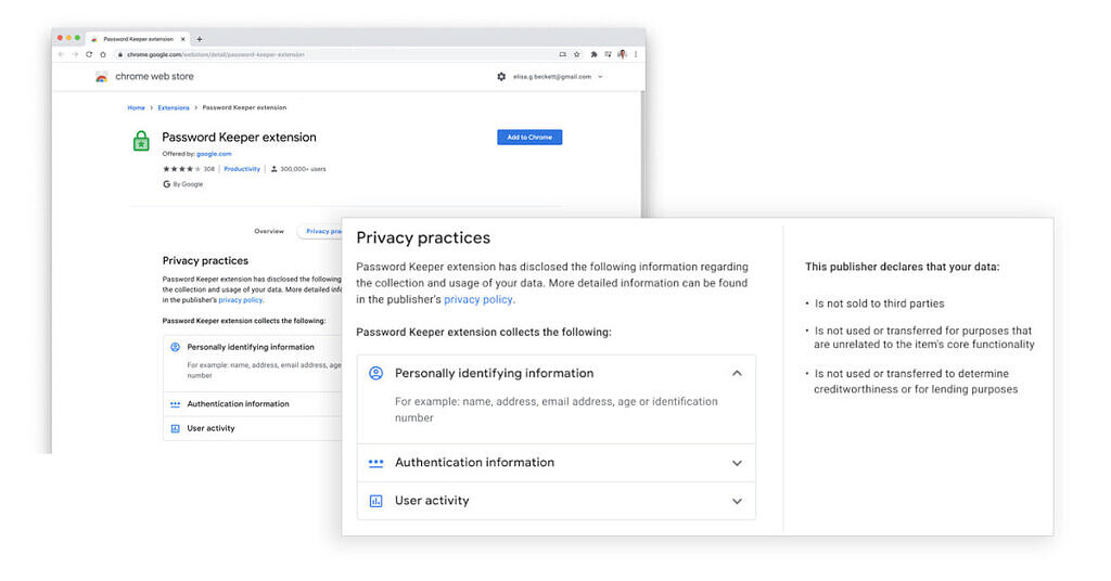 Google Chrome Extensions privacy features