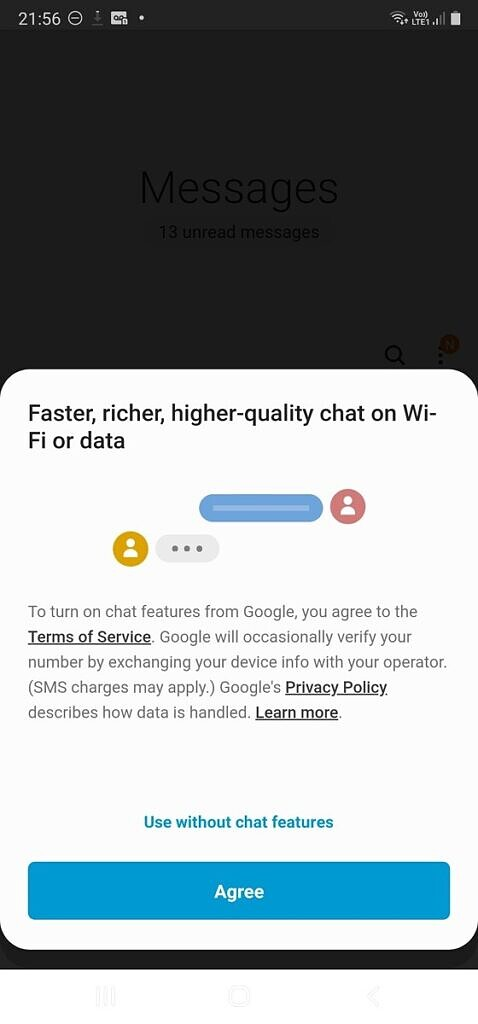 Google chat features dialog in Samsung Messages