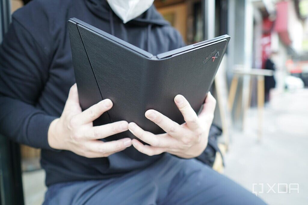 Using the Lenovo ThinkPad X1 Fold in book form.