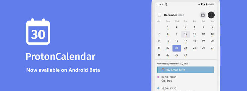 ProtonMail's secure calendar service is now available as an Android app