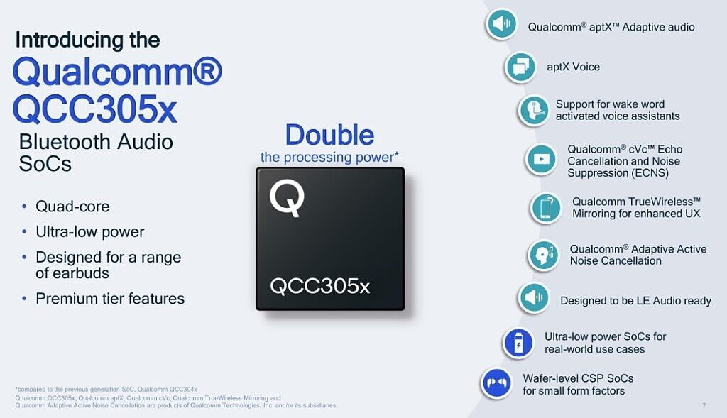 Qualcomm QCC305X Bluetooth SoCs features