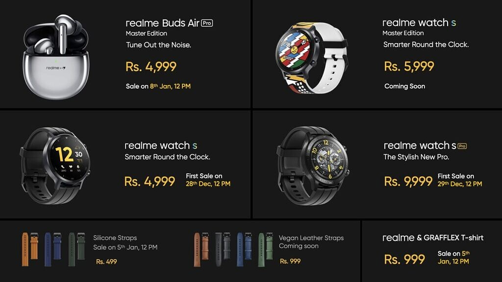 Realme Watch S Pro Watch S Buds Air Pro pricing and availability