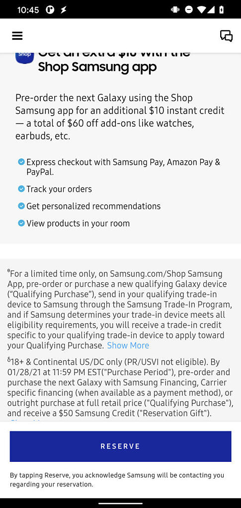 Samsung Galaxy S21 US pre-order reservation